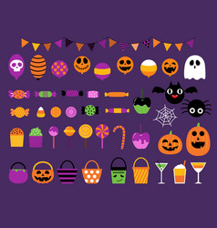 happy halloween sweet candy party set vector image