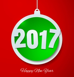 Happy New Year 2017 with Christmas Ball Paper vector