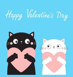 Happy valentines day cat love couple boy girl vector