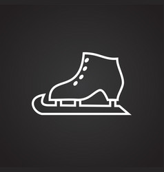 ice skate thin line on black background vector image