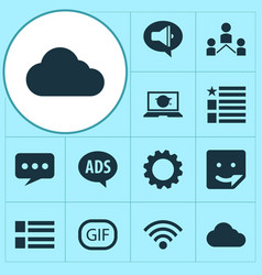 Internet icons set with wi-fi feed network and vector