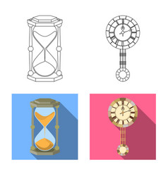isolated object of clock and time sign collection vector image