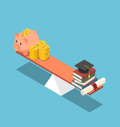 isometric piggy bank and dollar coin equal to vector image