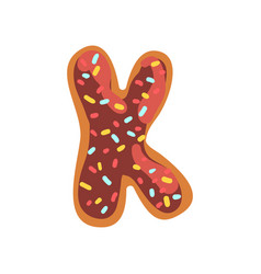 K letter in the shape of sweet glazed cookie vector