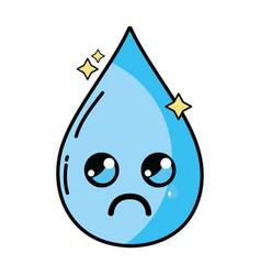 Kawaii cute crying water drop vector