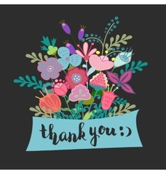 Lettering thank you flowers vector