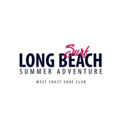 long beach surfing emblem or logo vector image