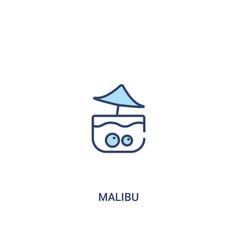 Malibu concept 2 colored icon simple line element vector