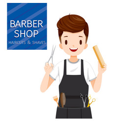 man hairdresser with barber shop equipment vector image