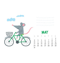 May calendar page with cute rat in travel vector
