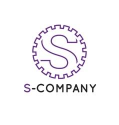 minimalistic outline violet S letter vector image