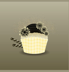 modern muffin cupcake black cream vector image