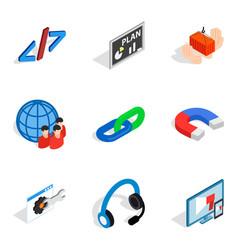 multipurpose device icons set isometric style vector image