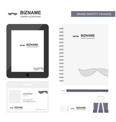 mustache business logo tab app diary pvc employee vector image