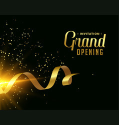 Nice grand opening card design in golden theme vector