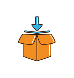 open delivery parcel cargo down arrow line and vector image
