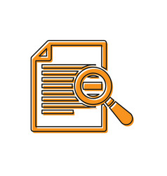 Orange document with search icon isolated on vector