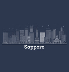 Outline sapporo japan city skyline with white vector