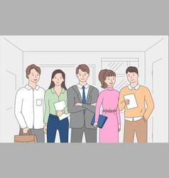 people brainstorming together workers teamwork vector image