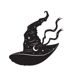 Pointy witch hat with crescent moon and stars hand vector