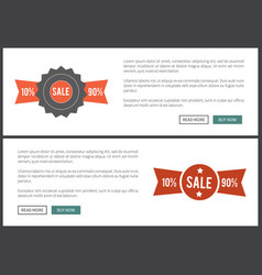 sale 10 and 90 web page on vector image