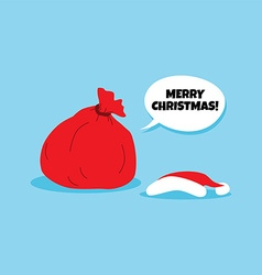 Santa claus christmas gift bag sack vector