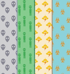 seamless cute aliens pattern set vector image
