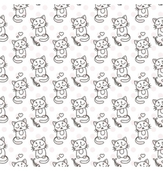 Seamless pattern of cute cat characters Pet in vector
