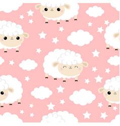 seamless pattern sheep sleeping eyes cloud star vector image