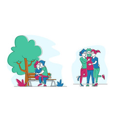 Set kissing people couple flirting on bench in vector