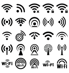 Set of twenty five wifi icons vector image
