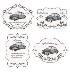 Set of vintage car cards vector