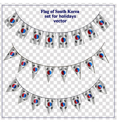 Set with flags south korea with folds bright vector