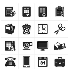 Silhouette Business and office tools icons vector image