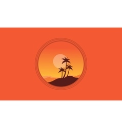 Silhouette of palm on orange backgrounds vector