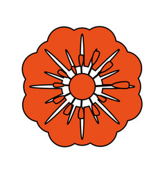 Single orange flower icon image vector