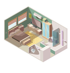 single room apartment interior isometric vector image