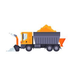 Snow plow blower truck winter snow removal vector