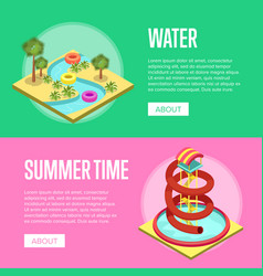 Summer time vacation isometric flyers set vector