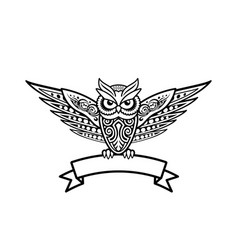 Tattoo owl logo template vector
