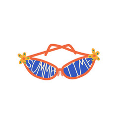 trendy sunglasses with blue lenses and summer time vector image