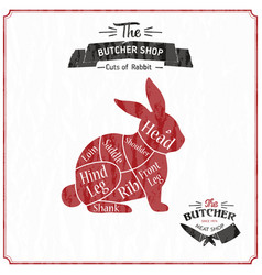 Vintage typographic rabbit butcher cuts diagram vector