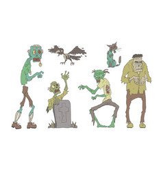 walking decaying zombies set undead people and vector image