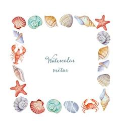 Watercolor square frame sea shells vector