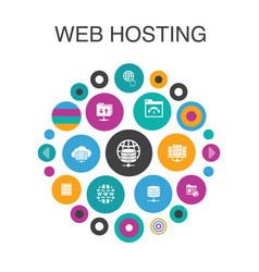 Web hosting infographic circle concept smart ui vector