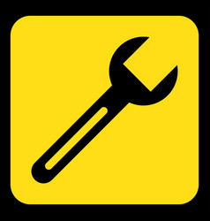 yellow black information sign - spanner icon vector image