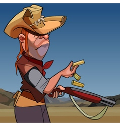 cartoon serious man in a hat and a gun vector image
