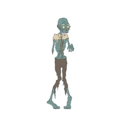 Creepy Zombie Wearing Tie Outlined Drawing vector image vector image