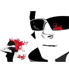 Man Face Glass Girl Fire vector image vector image
