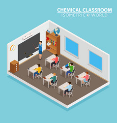 school and learning isometric concept with teacher vector image